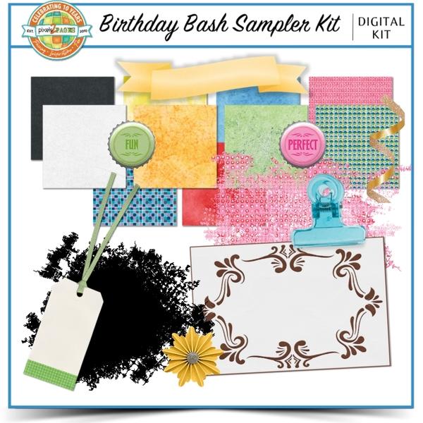 Birthday Bash Sampler Kit Digital Art - Digital Scrapbooking Kits