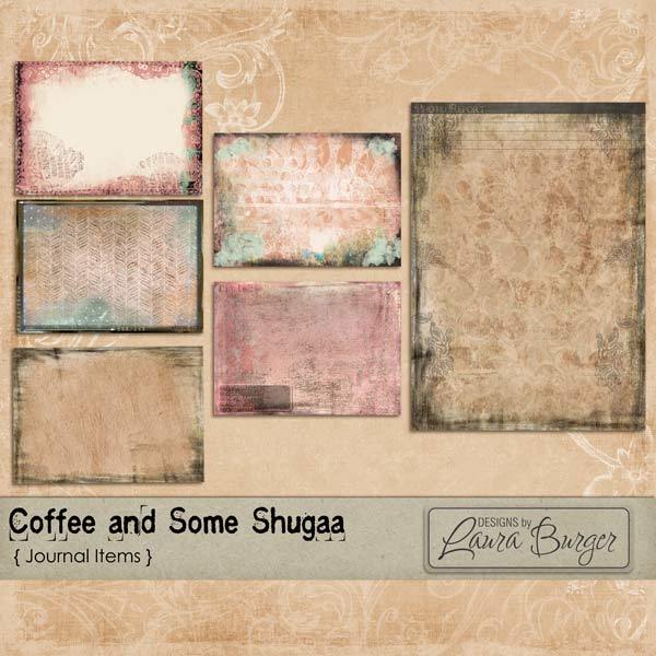 Coffee and Some Shugaa Journal Elements Digital Art - Digital Scrapbooking Kits
