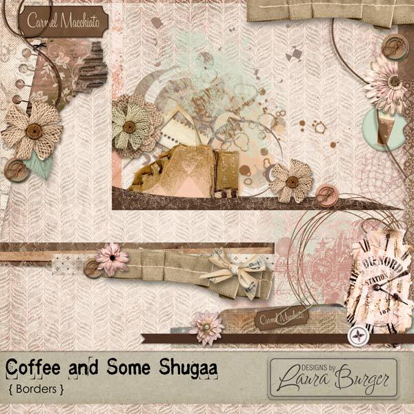 Coffee and Some Shugaa Borders Digital Art - Digital Scrapbooking Kits