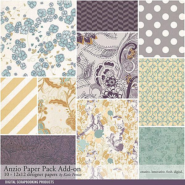 Anzio Add-On Paper Pack Digital Art - Digital Scrapbooking Kits
