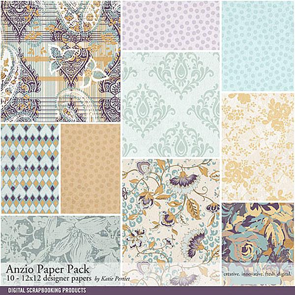 Anzio Paper Pack Digital Art - Digital Scrapbooking Kits