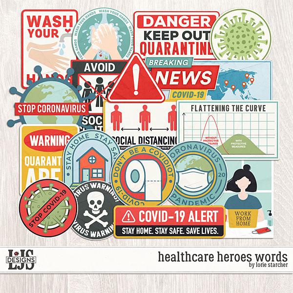 Healthcare Heroes Words Digital Art - Digital Scrapbooking Kits