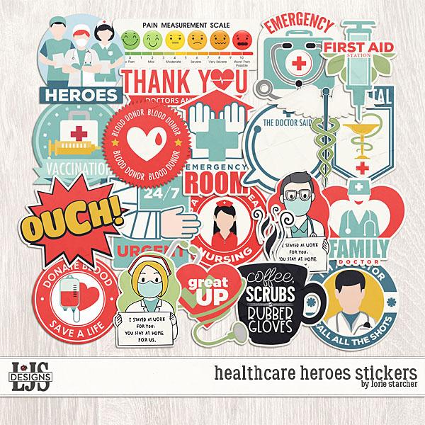 Healthcare Heroes Stickers Digital Art - Digital Scrapbooking Kits