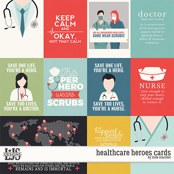 Healthcare Heroes Cards Digital Art - Digital Scrapbooking Kits