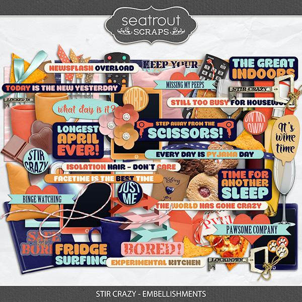 Stir Crazy Embellishments Digital Art - Digital Scrapbooking Kits