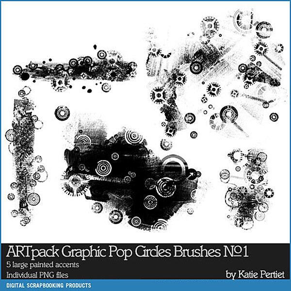 ARTpack Graphic Pop Circles Brushes and Stamps No. 01 Digital Art - Digital Scrapbooking Kits
