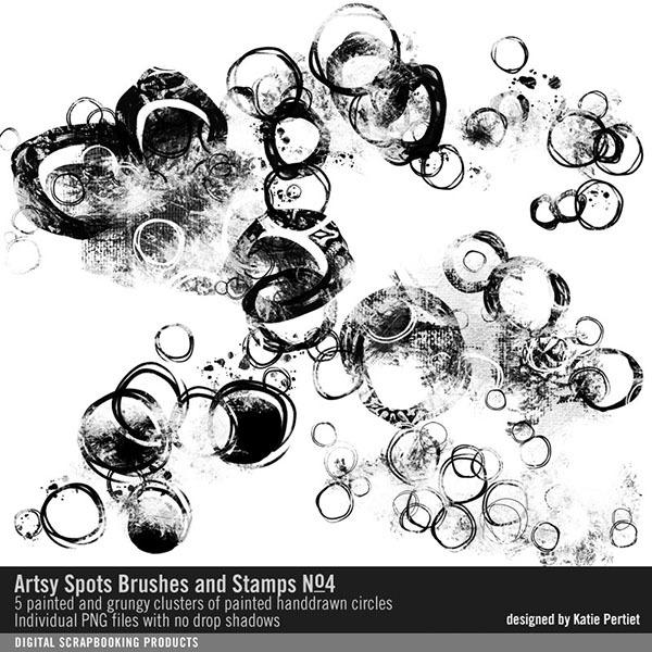 Artsy Spots Brushes, Stamps No. 04 Digital Art - Digital Scrapbooking Kits