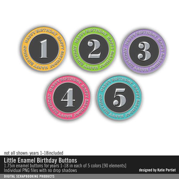 Little Enamel Birthday Buttons Digital Art - Digital Scrapbooking Kits