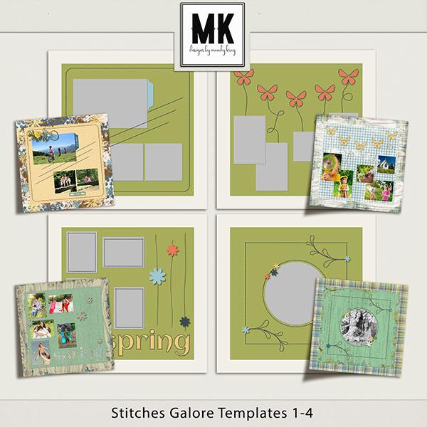 Stitches Galore Templates 1-4 Digital Art - Digital Scrapbooking Kits