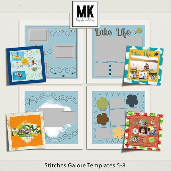 Stitches Galore Templates 5-8 Digital Art - Digital Scrapbooking Kits