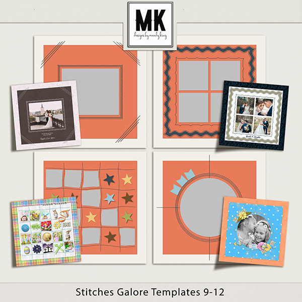 Stitches Galore Templates 9-12 Digital Art - Digital Scrapbooking Kits