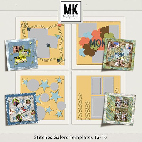 Stitches Galore Templates 13-16 Digital Art - Digital Scrapbooking Kits