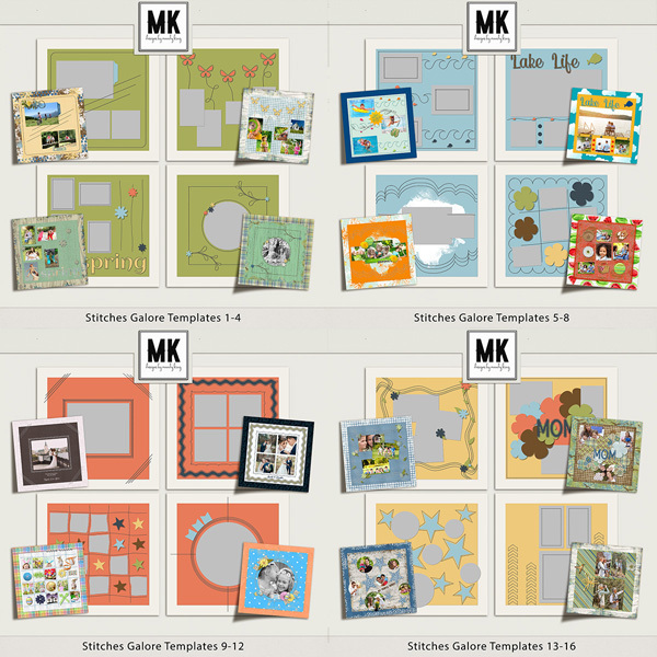 Stitches Galore Templates Bundle Digital Art - Digital Scrapbooking Kits