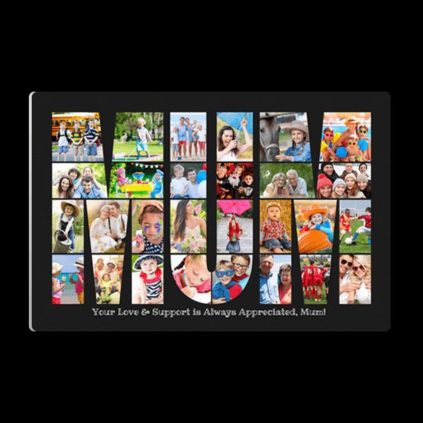 Mum Word Collage Panel in Black Panel