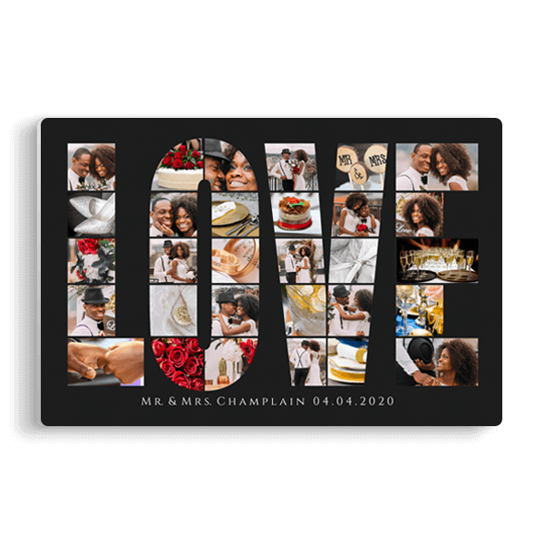 Love Word Collage Panel in Black Panel