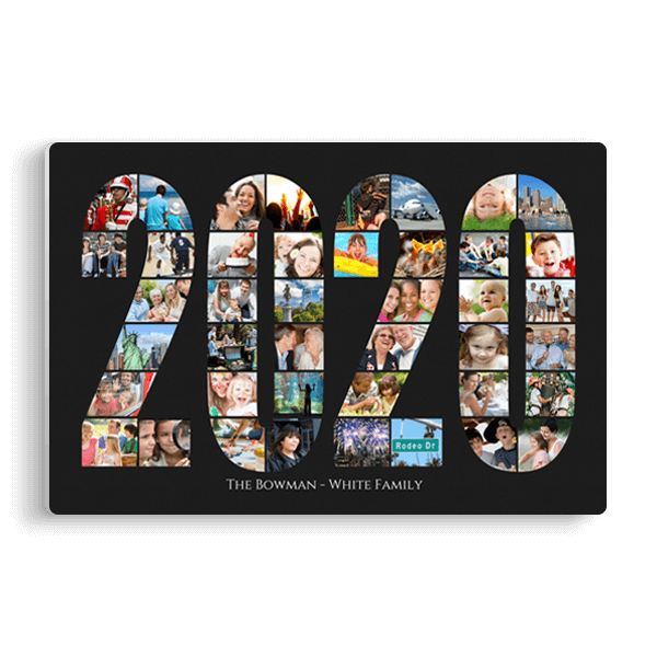 2020 Word Collage Panel in Black Panel