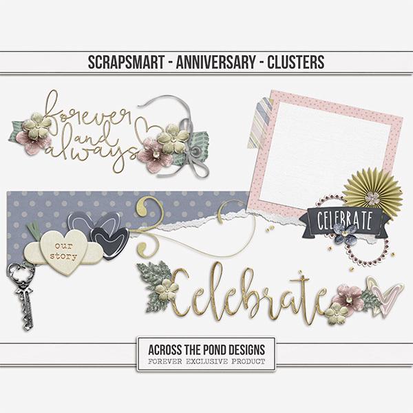 ScrapSmart - Anniversary  - Clusters Digital Art - Digital Scrapbooking Kits