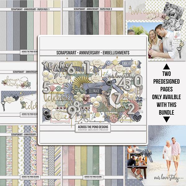 ScrapSmart - Anniversary  - Bundle Digital Art - Digital Scrapbooking Kits