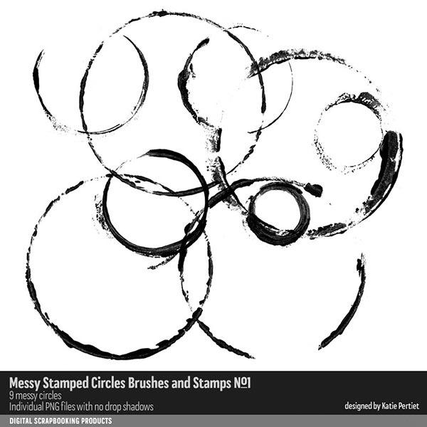Messy Stamped Circles Brushes and Stamps No. 01 Digital Art - Digital Scrapbooking Kits