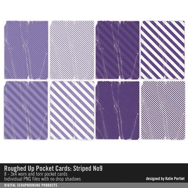 Roughed Up Pocket Cards Striped No. 09 Digital Art - Digital Scrapbooking Kits