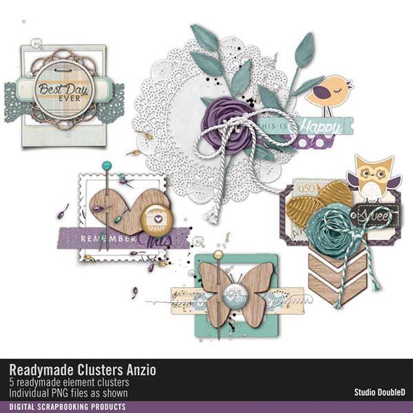 Readymade Clusters Anzio Digital Art - Digital Scrapbooking Kits