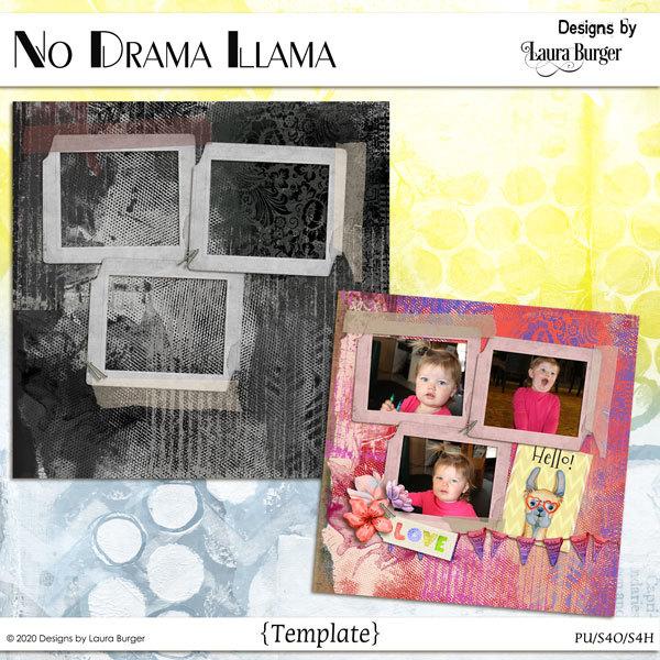 No Drama Llama Template Digital Art - Digital Scrapbooking Kits