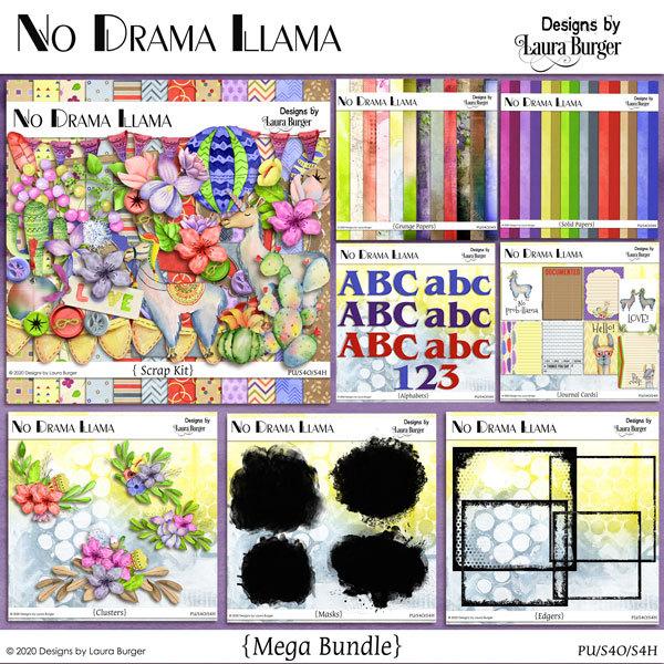 No Drama Llama Mega Bundle Digital Art - Digital Scrapbooking Kits