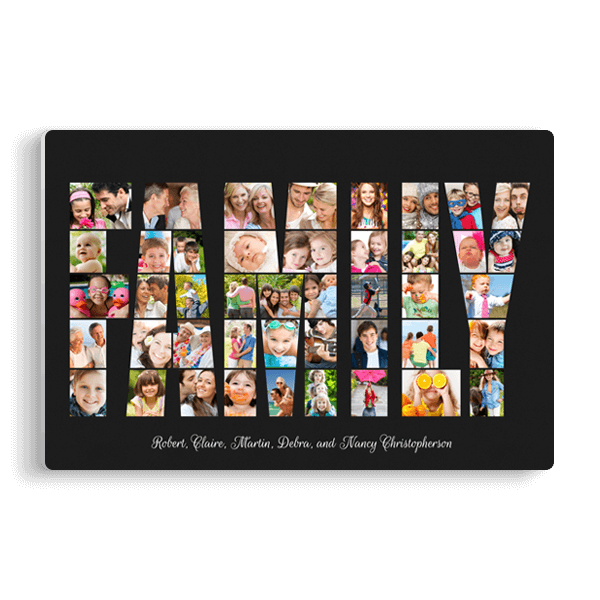 Family Word Collage Panel in Black Panel