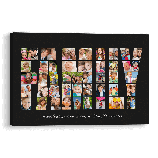 Family Word Collage Canvas in Black Canvas