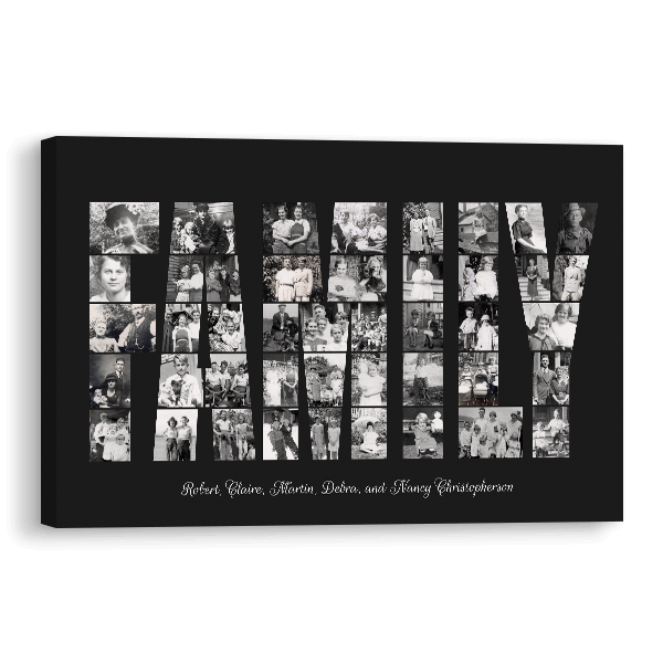 Family Word Collage Canvas in Black