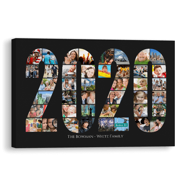 2020 Word Collage Canvas in Black Canvas