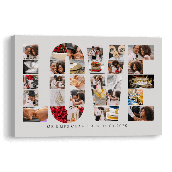 Love Word Collage Canvas Canvas