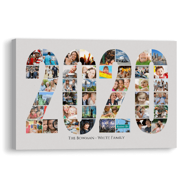 2020 Word Collage Canvas Canvas