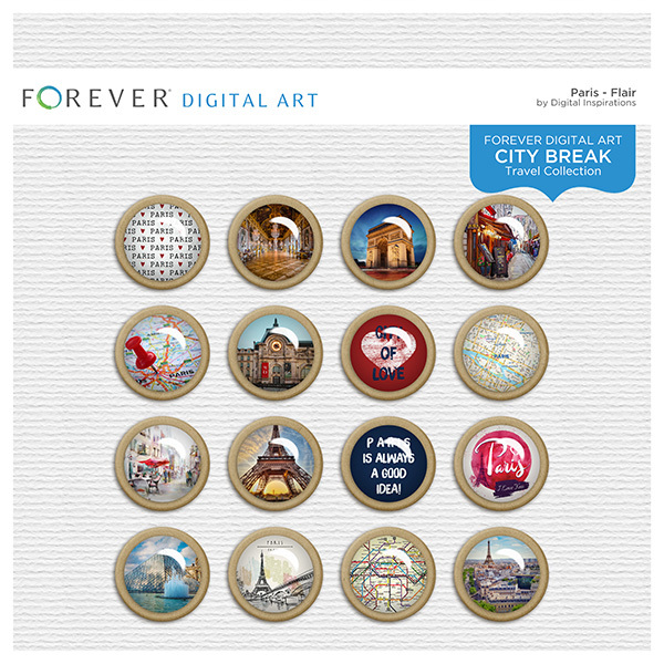 City Break - Paris - Flair Digital Art - Digital Scrapbooking Kits