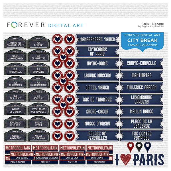 City Break - Paris - Signage Digital Art - Digital Scrapbooking Kits