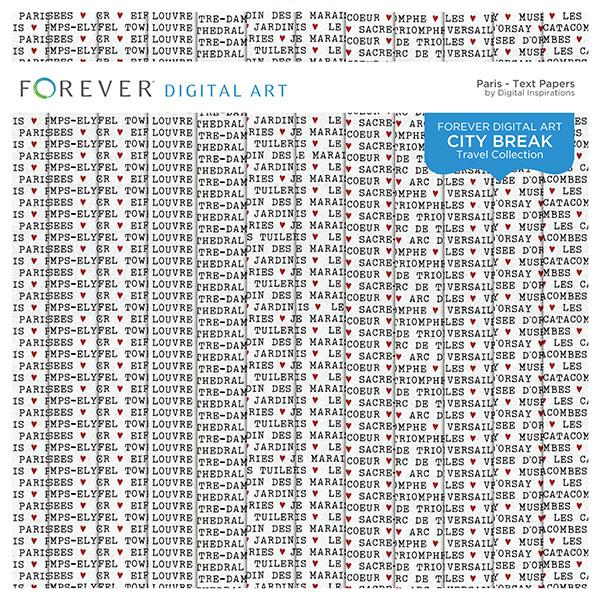 City Break - Paris - Text Papers Digital Art - Digital Scrapbooking Kits