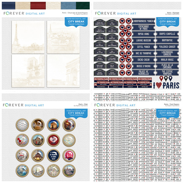 City Break - Paris - Bundle Digital Art - Digital Scrapbooking Kits