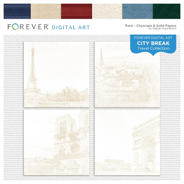 City Break - Paris -  Cityscape & Solid Papers Digital Art - Digital Scrapbooking Kits
