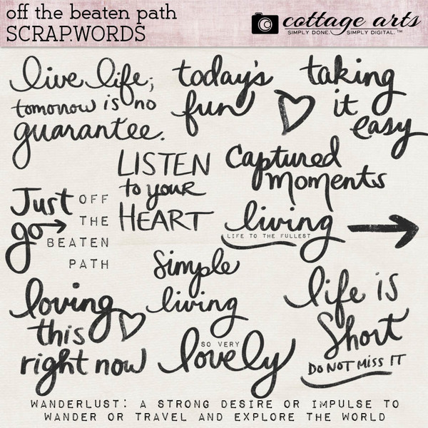 Off the Beaten Path Scrap.Words Digital Art - Digital Scrapbooking Kits