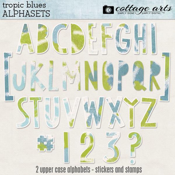 Tropic Blues AlphaSets Digital Art - Digital Scrapbooking Kits