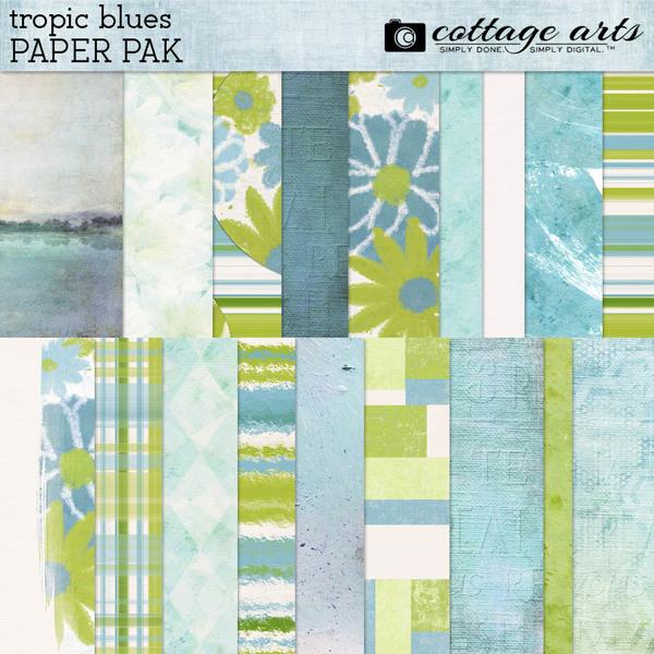 Tropic Blues Paper Pak Digital Art - Digital Scrapbooking Kits