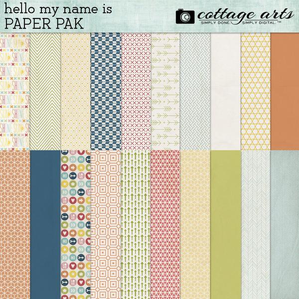 Hello My Name Is Paper Pak Digital Art - Digital Scrapbooking Kits