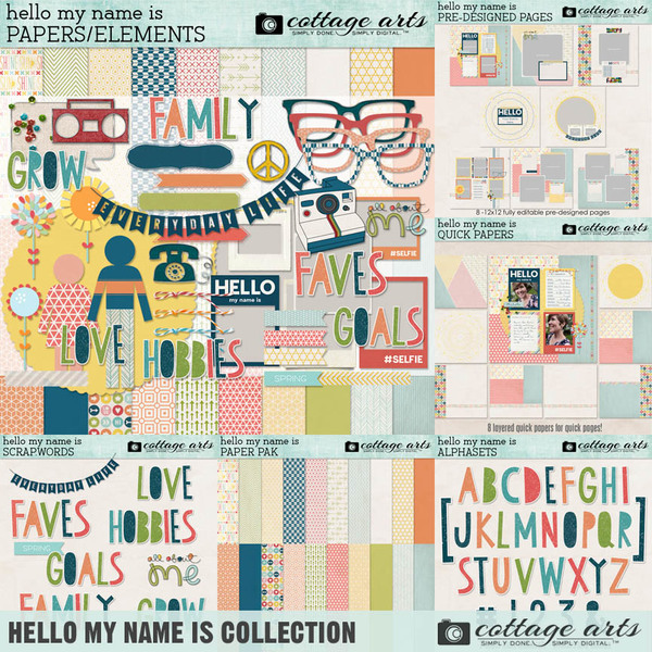 Hello My Name Is Collection Digital Art - Digital Scrapbooking Kits