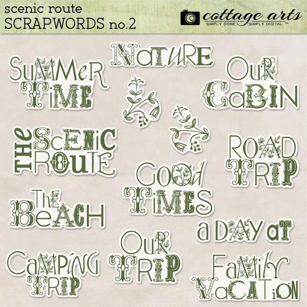 Scenic Route Scrap.Words 2 Digital Art - Digital Scrapbooking Kits