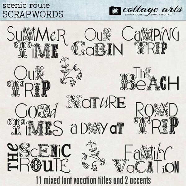 Scenic Route Scrap.Words Digital Art - Digital Scrapbooking Kits