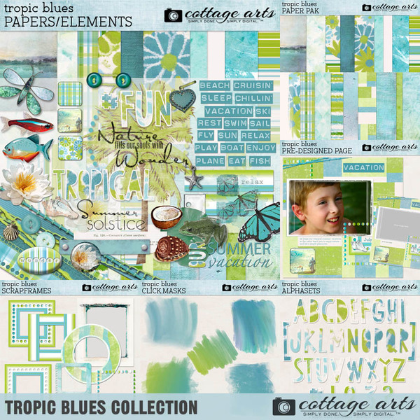 Tropic Blues Collection Digital Art - Digital Scrapbooking Kits