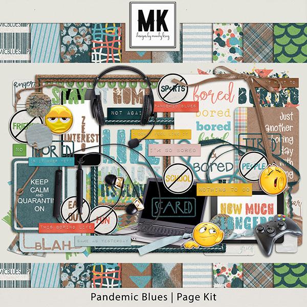 Pandemic Blues Page Kit Digital Art - Digital Scrapbooking Kits