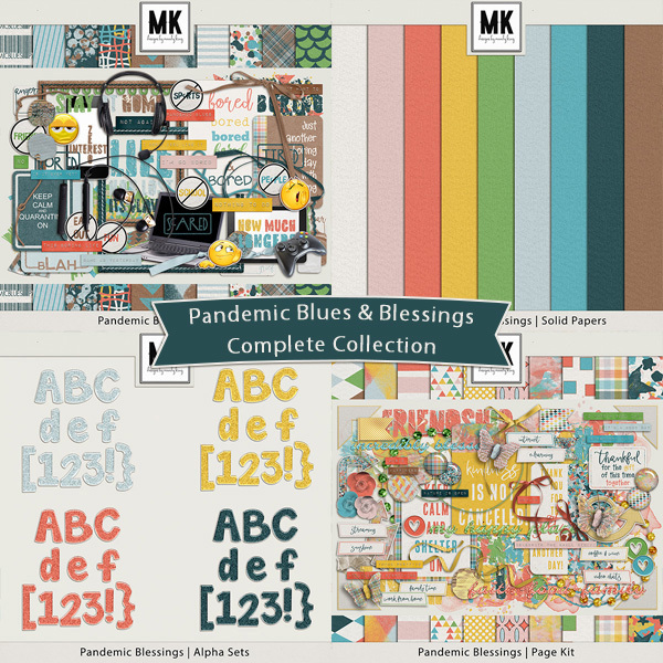 Pandemic Blues & Blessings Bundle Digital Art - Digital Scrapbooking Kits