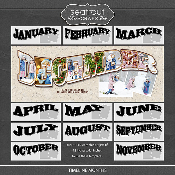 Timeline Months Digital Art - Digital Scrapbooking Kits