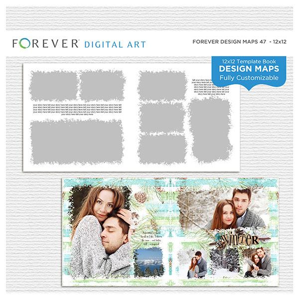 Forever Design Maps 47 - 12x12 Digital Art - Digital Scrapbooking Kits